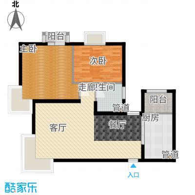 北京随园公寓90.00㎡户型2室2厅1卫1厨