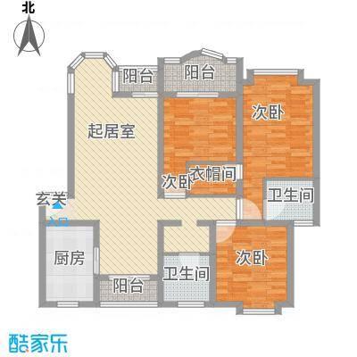 汇龙铭都139.21㎡汇龙铭都户型图3B标准层2室2厅1卫1厨户型2室2厅1卫1厨