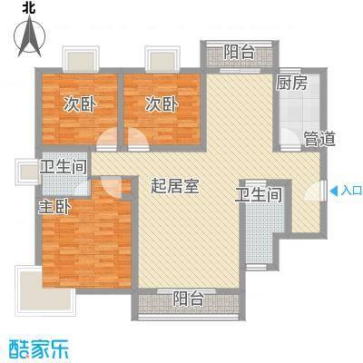 西雅图国际会馆131.54㎡J户型3室2厅2卫1厨