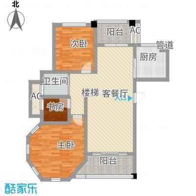 城开国际学园96.99㎡D2+1-b(三期)户型2室2厅1卫
