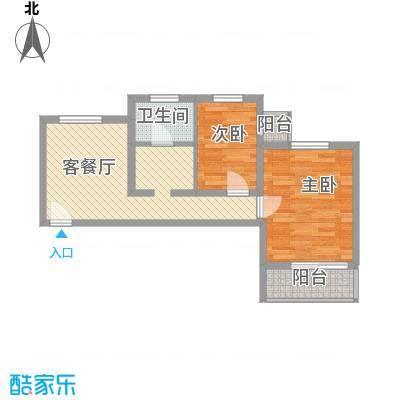 资尚财富公寓65.64㎡二居户型2室1厅1卫1厨