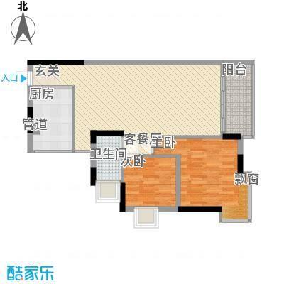 润碧康城二期89.00㎡高层1#、2#、5#标准层02、04户型2室2厅1卫1厨