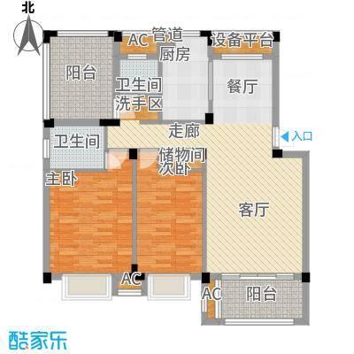 新宇拉菲公馆104.00㎡一期多层D2户型2室2厅2卫1厨