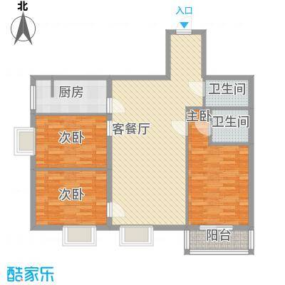 矩阵一期109.53㎡三期18号楼D户型3室2厅2卫1厨