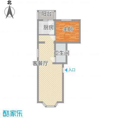 天泰新景温泉小区73.61㎡经济小一居户型1室2厅1卫1厨