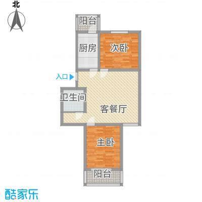 天泰新景温泉小区91.57㎡温馨二居户型2室2厅1卫1厨