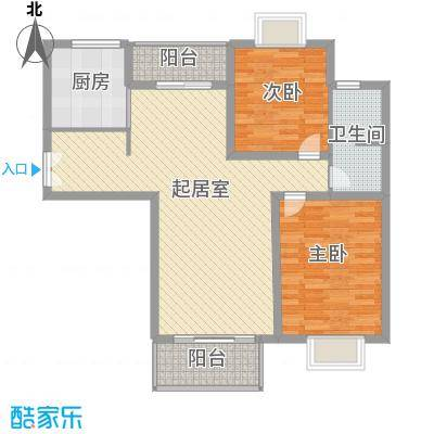 凤凰城108.61㎡二期多层77#多层D户型2室2厅1卫1厨