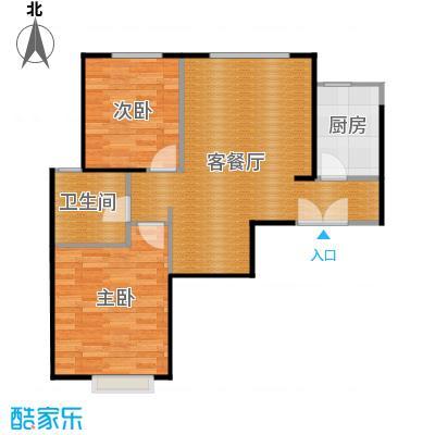 京贸国际城87.56㎡3#楼-E2反户型2室1厅1卫1厨