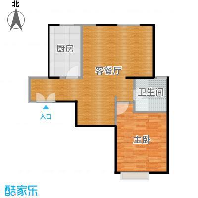 京贸国际城80.04㎡3#楼-E1户型1室1厅1卫1厨