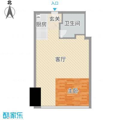 苏宁广场70.00㎡酒店式公寓A1户型1室1厅1卫1厨