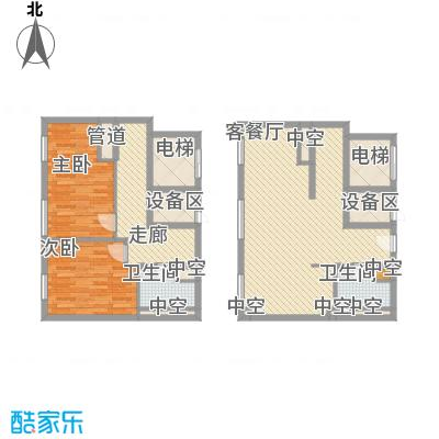 北京ONE148.48㎡1-B户型2室2厅2卫1厨
