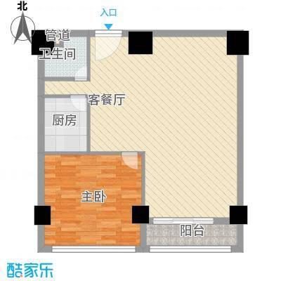 领秀公馆46.53㎡1#楼K1户型2室2厅1卫1厨