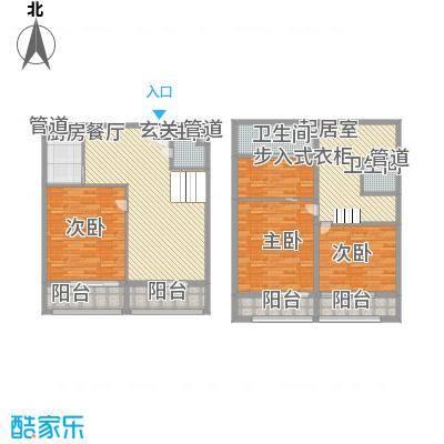 领秀公馆74.47㎡D1双拼复式户型4室3厅3卫1厨