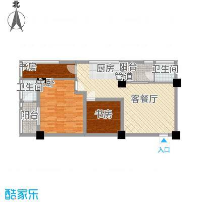 环球时代户型图A型北美风情 3室1厅1卫1厨