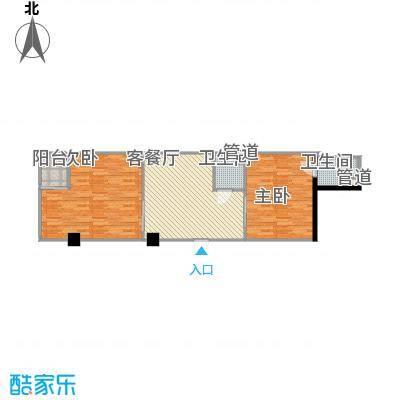 环球时代户型图D型布波一族 2室1厅2卫1厨