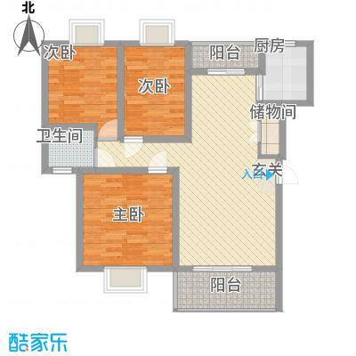 红谷雅苑108.00㎡一期8#、11#、12#、16#户型3室2厅1卫1厨