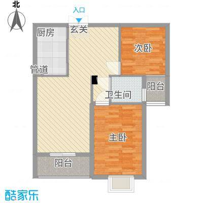美罗嘉苑85.34㎡多层D户型2室2厅1卫1厨