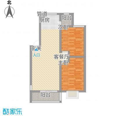 美罗嘉苑86.46㎡多层B户型2室2厅1卫1厨