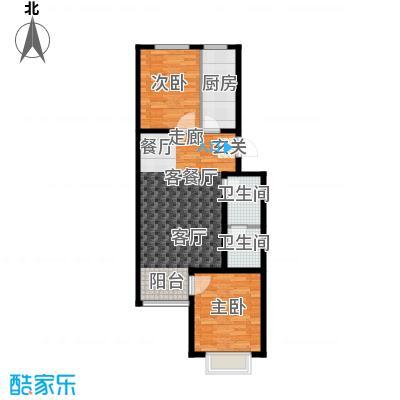 汇豪山水华府78.67㎡3号楼B-2户型2室2厅1卫1厨