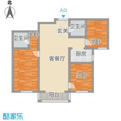 卓越方舟128.00㎡C户型3室2厅2卫1厨