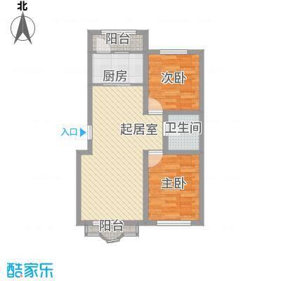 红光秀苑81.20㎡二、三、四号楼15层P户型81.2㎡户型2室2厅1卫1厨