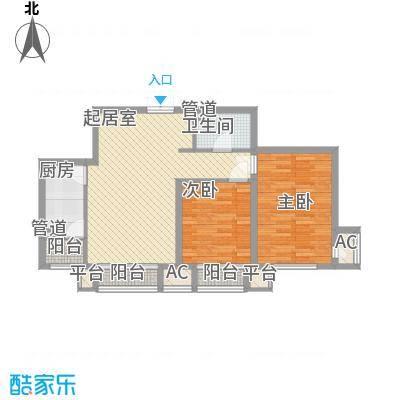 龙城帝景88.50㎡3、4号楼B户型2室2厅1卫1厨