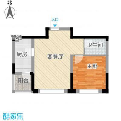 绿地福林60.00㎡D户型1室2厅1卫1厨