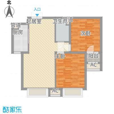 龙城帝景88.80㎡1、2号楼B户型2室2厅1卫1厨
