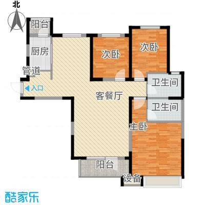 中海・紫御江城138.00㎡8#楼御峰C2户型3室2厅2卫1厨