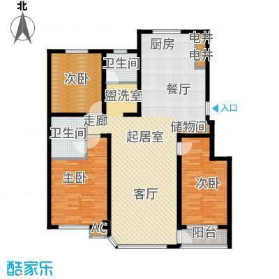 盈胜毓园135.80㎡F金妆玉砌户型3室2厅2卫1厨