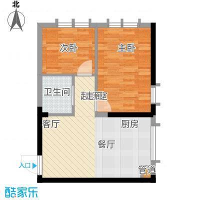 恒隆通潭富苑64.54㎡K户型64.54㎡户型2室1厅1卫1厨