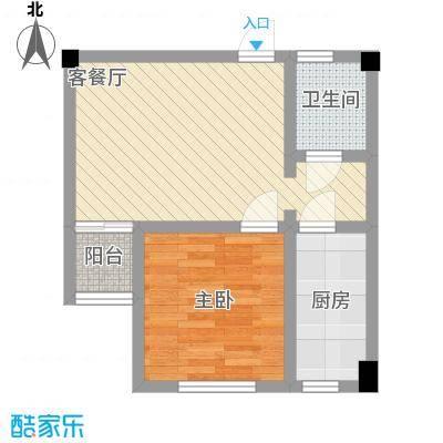SOLO自由城56.07㎡百度空间户型1室1厅1卫1厨