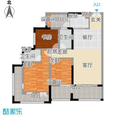 中德英伦联邦90.00㎡B区13、15号楼F1户型3室2厅2卫1厨