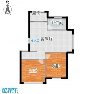 香山景园86.36㎡户型2室1厅1卫1厨