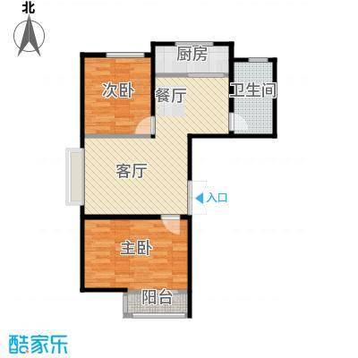 香山景园83.69㎡户型2室1厅1卫1厨
