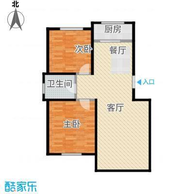 香山景园77.43㎡户型2室1厅1卫1厨