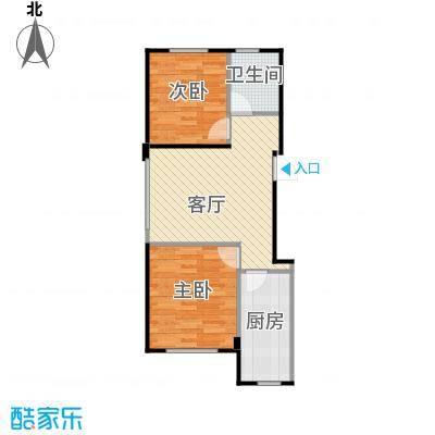 香山景园74.15㎡户型2室1厅1卫1厨