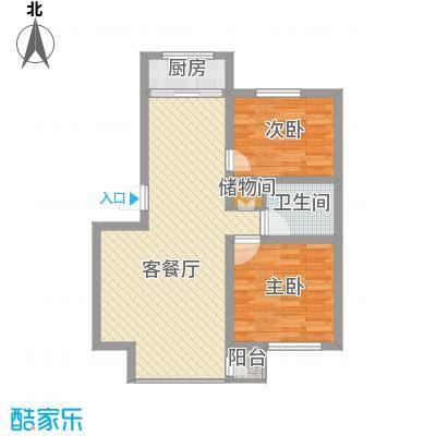 水岸聆风84.63㎡F户型2室2厅1卫1厨