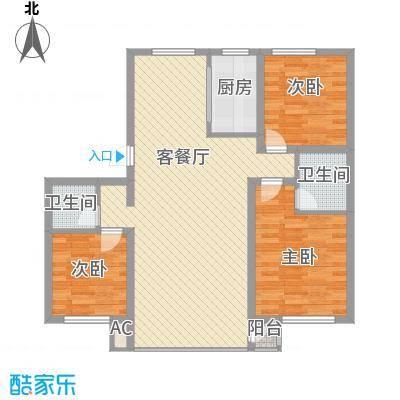 水岸聆风117.92㎡M户型3室2厅2卫1厨