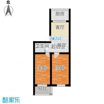 铁成骏景花园75.00㎡铁成骏景花园75.00㎡2室1厅1卫1厨户型2室1厅1卫1厨