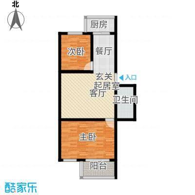 铁成骏景花园80.00㎡铁成骏景花园80.00㎡2室2厅1卫1厨户型2室2厅1卫1厨
