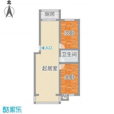 伊江丽景花园95.00㎡户型2室2厅1卫1厨