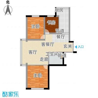 天鸿嘉园115.00㎡1#2#楼户型3室1厅1卫1厨
