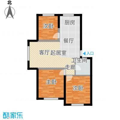 盈胜毓园98.47㎡C玉树林风户型3室2厅1卫1厨