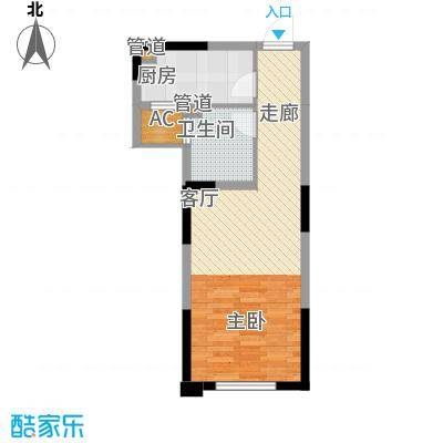 枫叶山庄高层C户型1室1厅1卫