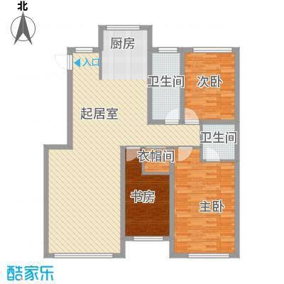 鸿博颐景花园117.00㎡D户型3室2厅2卫