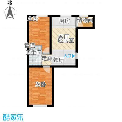 公交集团御苑小区户型2室2厅1卫1厨