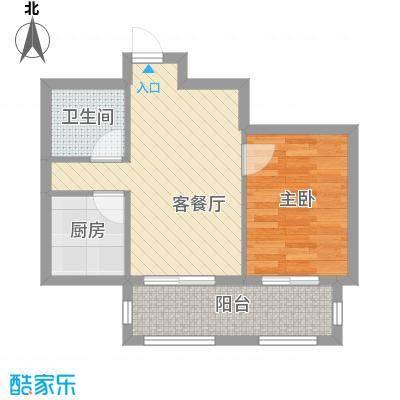 江山逸景49.05㎡C户型1室2厅1卫1厨