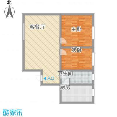 湘江名苑107.57㎡户型3户型2室1厅1卫1厨