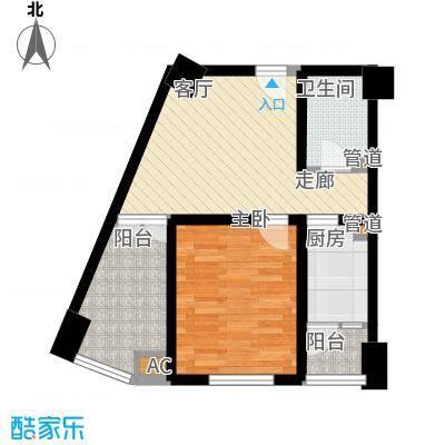 熙城国际60.00㎡B6型户型1室1厅1卫1厨